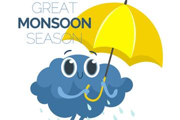 卡通撑伞的雨季云朵矢量素材
