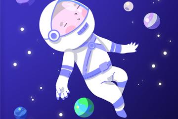 卡通太空中的宇航�T矢量素材