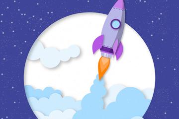 创意动感升空火箭设计矢量素材