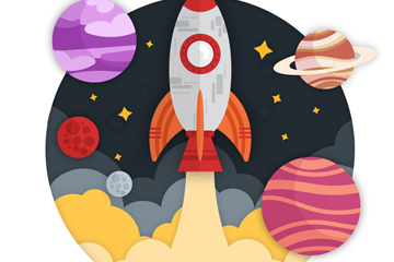 创意火箭和星球矢量素材