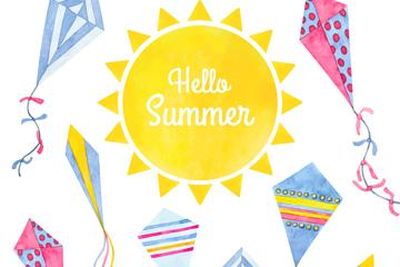 彩绘夏季太阳风筝矢量素材