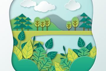 创意郊外树木河流剪贴画矢量素材