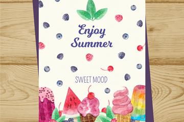 彩�L夏季甜�c卡片矢量素材