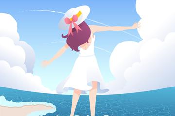 卡通海�度假女子背影矢量素材
