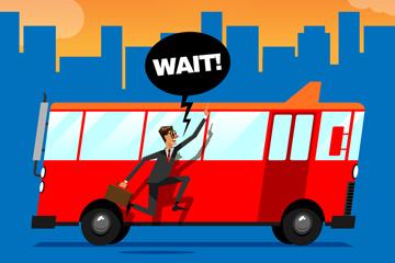 创意追赶公交的商务男子矢量图