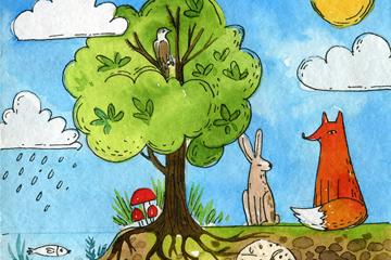 彩绘树木和森林动物插画矢量图