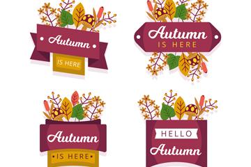 4款创意秋季树叶标签矢量图