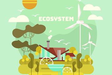 创意城市生态系统插画矢量图