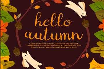 创意秋季兔子和树叶矢量素材