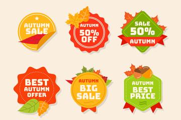 6款彩色秋季销售标签矢量图