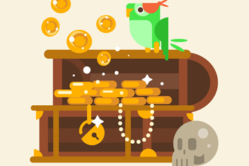 创意藏宝箱和鹦鹉矢量素材