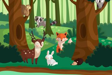 创意森林生态系统矢量素材