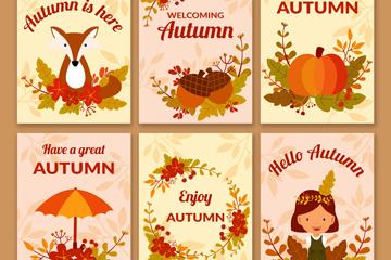 6款可爱秋季祝福卡片矢量素材