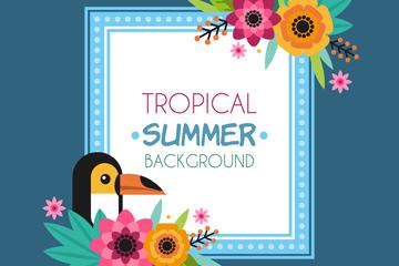创意夏季热带花鸟框架矢量图
