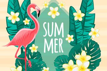 创意夏季花卉和火烈鸟矢量图