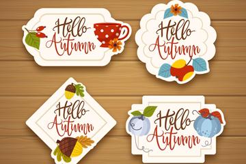 4款彩色秋季标签设计矢量图