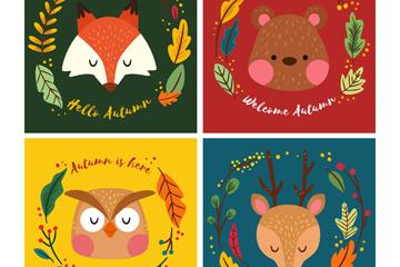4款彩绘动物头像卡片矢量素材