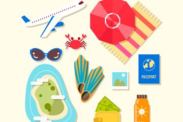 12款彩色夏季旅行元素矢量素材