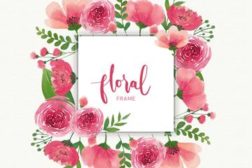粉色玫瑰花框架矢量素材