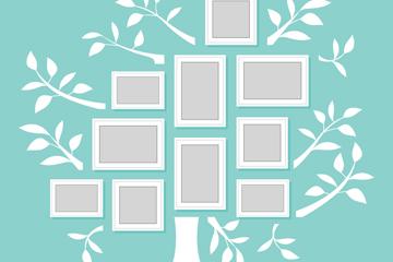 白色树形照片墙矢量素材