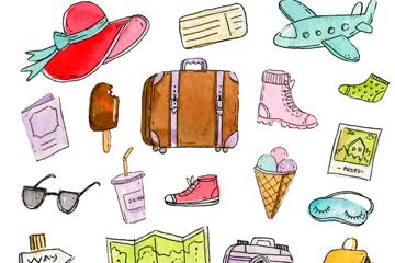 19款彩绘旅行元素矢量素材