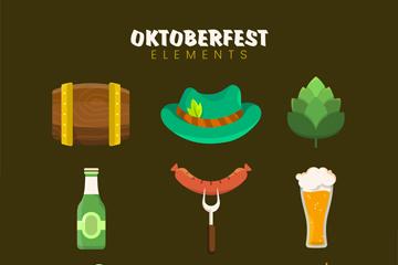 9款彩色慕尼黑啤酒节图标矢量图