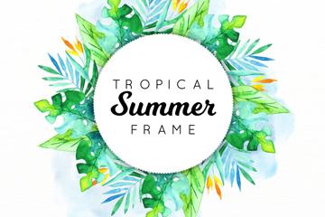 水彩绘夏季热带花草框架矢量图