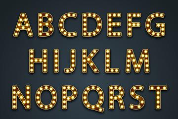 26个金色霓虹灯字母矢量素材