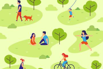 创意公园休闲人物矢量素材