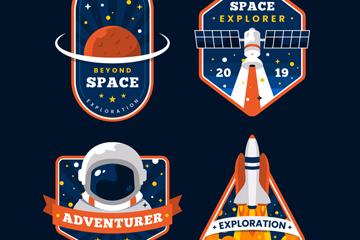 4款彩色太空探索标签矢量图