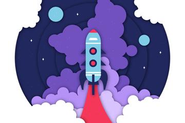 ��意升空火箭剪�N��矢量素材