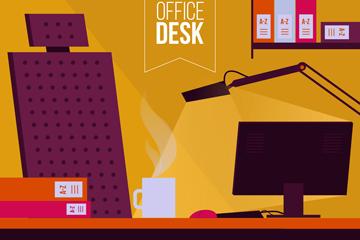 创意办公桌设计矢量素材