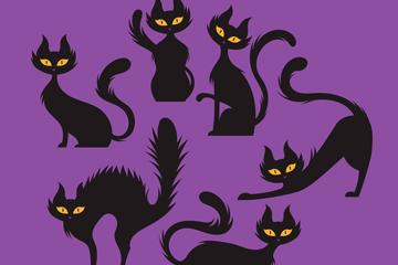 6款创意黑猫设计矢量素材