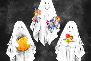3款手绘幽灵设计矢量素材