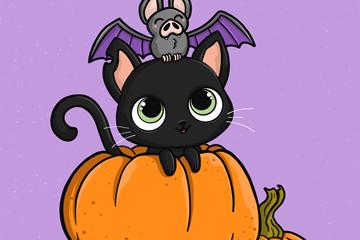 可爱万圣节南瓜上的黑猫和蝙蝠矢