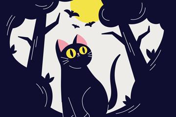 创意暗夜森林里的黑猫矢量素材