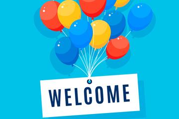 彩色气球欢迎艺术字矢量素材