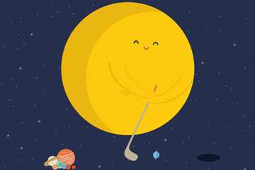 可爱打高尔夫的太阳矢量素材
