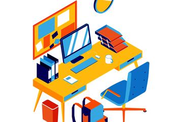 彩色立体办公桌设计矢量图
