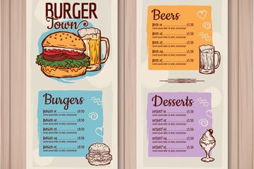 彩绘汉堡包店菜单正反面矢量素材