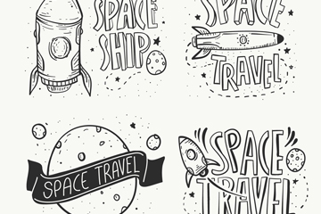 4款手绘太空之旅标签矢量图