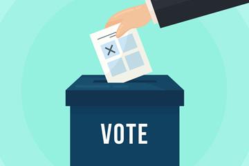 创意投票箱和手臂矢量素材