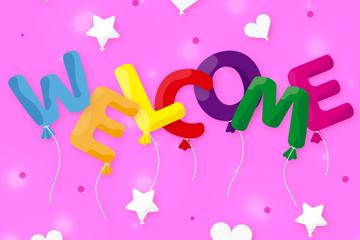 彩色欢迎气球艺术字矢量素材