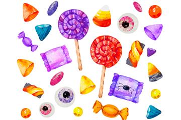 26款水彩绘万圣节糖果矢量图