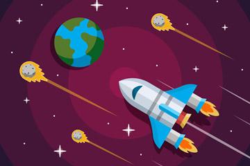 创意太空中的地球和宇宙飞船矢量