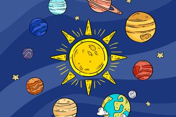 彩绘太阳系行星矢量素材