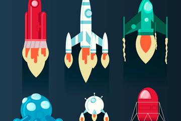 6款创意宇宙飞船设计矢量素材