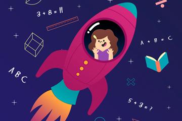 卡通乘坐宇宙飞船的女孩矢量素材
