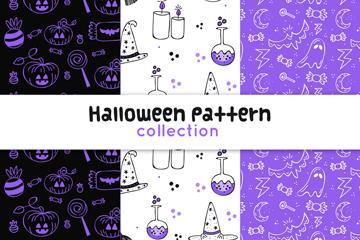 3款手绘紫色万圣节无缝背景矢量