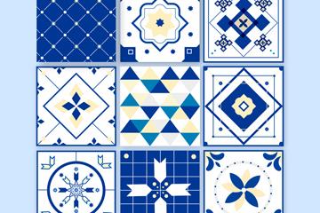 9款蓝色花纹方砖矢量素材